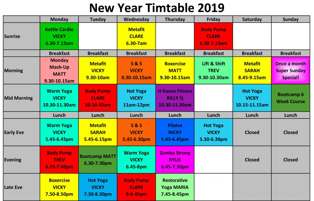 New Year Timetable 2019