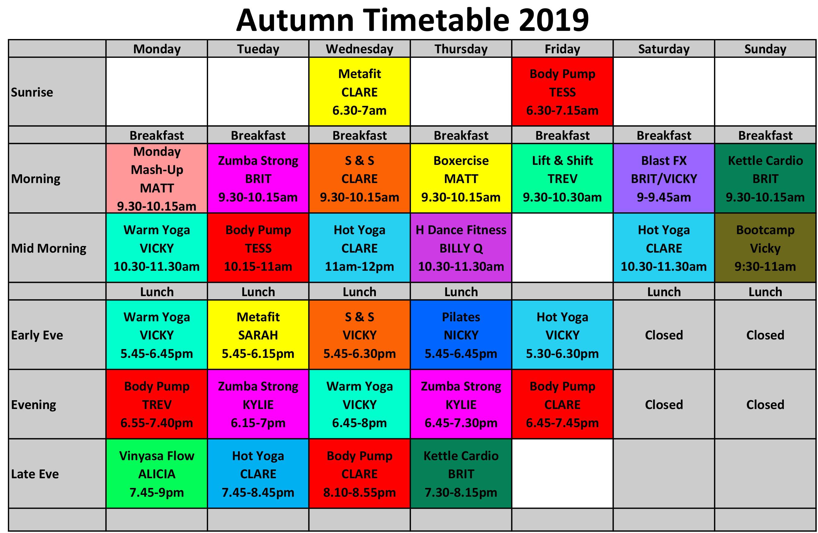 Autumn Timetable 2019